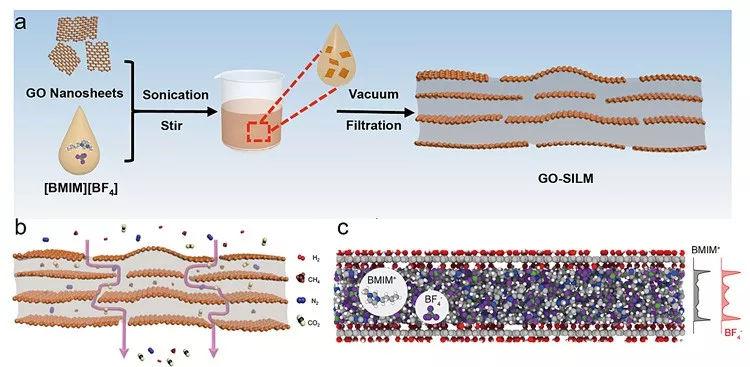 氧化石墨烯支撑的纳米受限离子液体膜在CO2分离方面的应用