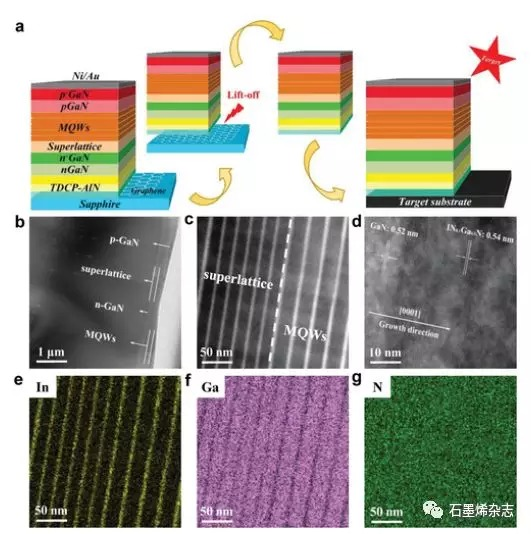 西安电子科技大学郝跃课题组--石墨烯上选择性成核AlN激活可转移GaN用于高亮度紫光发光二极管